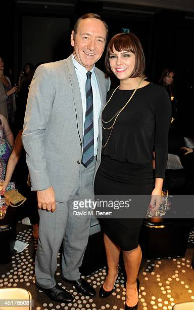 Kevin Spacey and Annabel Scholey attend The Old Vic's 24 Hour Celebrity Gala after party at Rosewood London on November 24 2013 in London United...