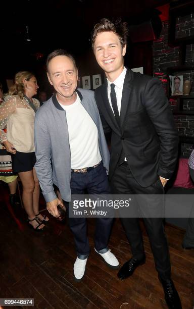 Kevin Spacey and Ansel Elgort attend the after party for the European Premiere of Sony Pictures 'Baby Driver' on June 21 2017 in London England