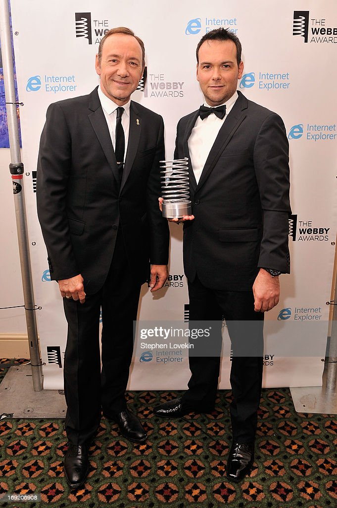 Kevin Spacey and Dana Brunetti pose with an award at the 17th Annual Webby Awards at Cipriani Wall Street on May 21, 2013 in New York City.