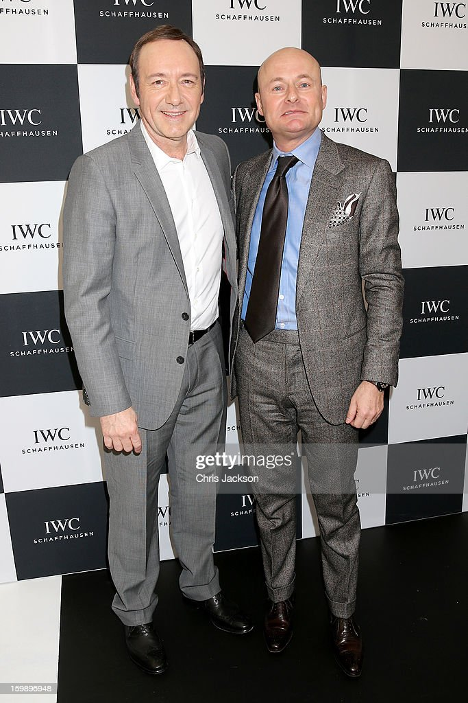 <a gi-track='captionPersonalityLinkClicked' href=/galleries/search?phrase=Kevin+Spacey&family=editorial&specificpeople=202091 ng-click='$event.stopPropagation()'>Kevin Spacey</a> and Georges Kern visit the IWC booth during the Salon International de la Haute Horlogerie (SIHH) 2013 at Palexpo on January 22, 2013 in Geneva, Switzerland.