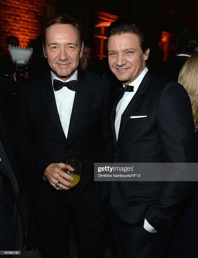 Kevin Spacey and Jeremy Renner attend the Bloomberg & Vanity Fair cocktail reception following the 2013 WHCA Dinner at the residence of the French Ambassador on April 27, 2013 in Washington, DC.