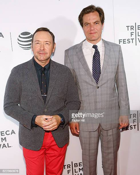 Kevin Spacey and Michael Shannon attend the premiere of 'Elvis Nixon' at Borough of Manhattan Community College during the 2016 TriBeCa Film Festival...