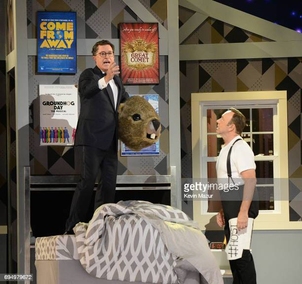 Kevin Spacey and Stephen Colbert perform onstage during the 2017 Tony Awards at Radio City Music Hall on June 11 2017 in New York City