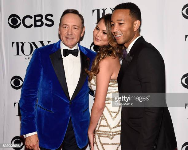 Kevin Spacey Chrissy Teigen and John Legend attend the 2017 Tony Awards at Radio City Music Hall on June 11 2017 in New York City
