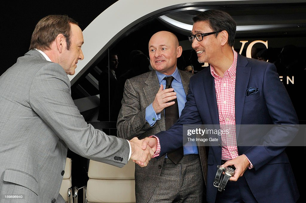 <a gi-track='captionPersonalityLinkClicked' href=/galleries/search?phrase=Kevin+Spacey&family=editorial&specificpeople=202091 ng-click='$event.stopPropagation()'>Kevin Spacey</a>, Georges Kern and Kiichi Nakai visit the IWC booth during the Salon International de la Haute Horlogerie (SIHH) 2013 at Palexpo on January 22, 2013 in Geneva, Switzerland.
