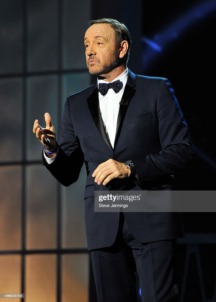 <a gi-track='captionPersonalityLinkClicked' href=/galleries/search?phrase=Kevin+Spacey&family=editorial&specificpeople=202091 ng-click='$event.stopPropagation()'>Kevin Spacey</a> hosts the 2014 Breakthrough Prizes Awarded in Fundamental Physics and Life Sciences Ceremony at NASA Ames Research Center on December 12, 2013 in Mountain View, California.