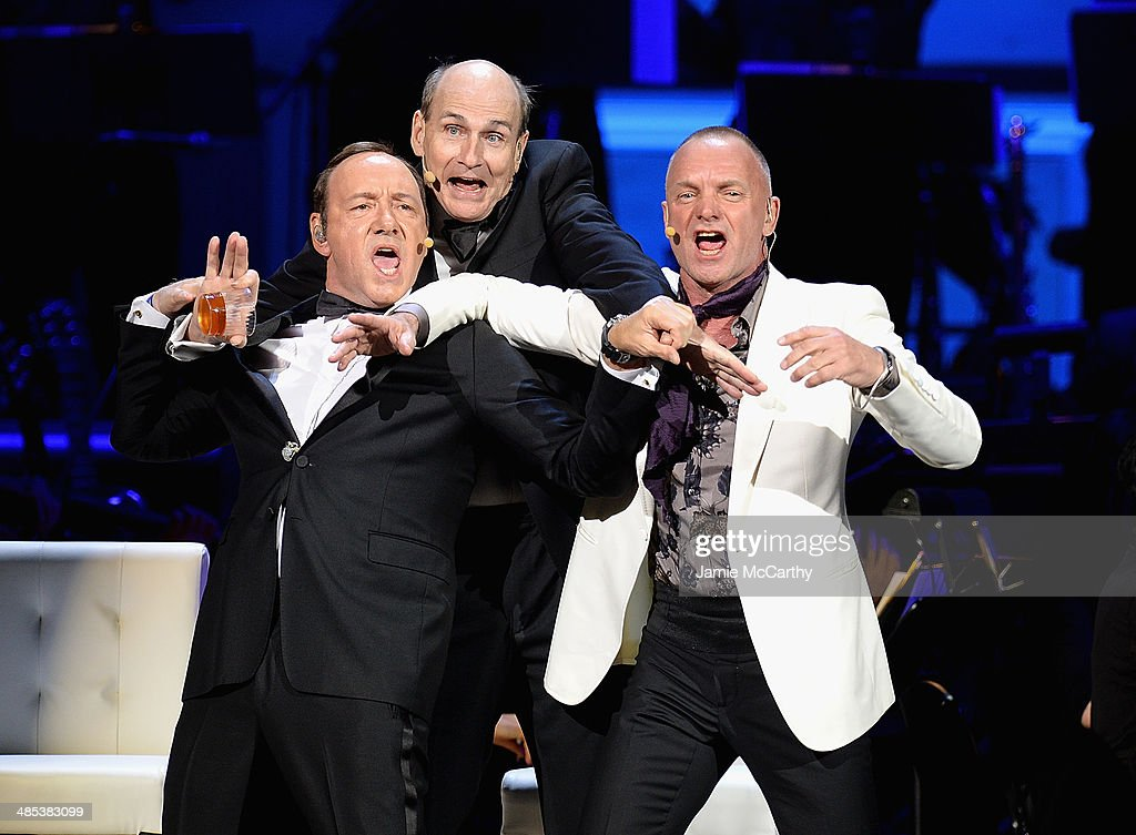 <a gi-track='captionPersonalityLinkClicked' href=/galleries/search?phrase=Kevin+Spacey&family=editorial&specificpeople=202091 ng-click='$event.stopPropagation()'>Kevin Spacey</a>, James Taylor and Sting perform during the 25th Anniversary Rainforest Fund Benefit Concert at Carnegie Hall on April 17, 2014 in New York City.