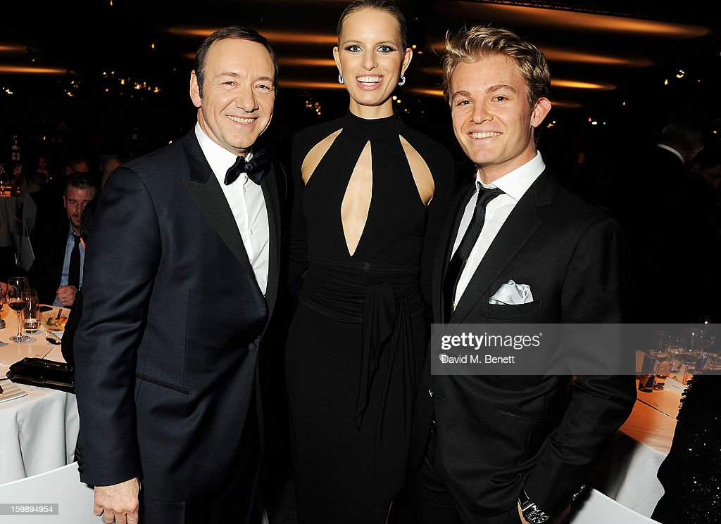 Kevin Spacey, Karolina Kurkova and Nico Rosberg attend the IWC Schaffhausen Race Night event during the Salon International de la Haute Horlogerie (SIHH) 2013 at Palexpo on January 22, 2013 in Geneva, Switzerland.