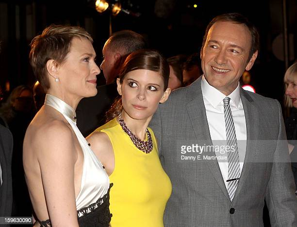 Kevin Spacey Kate Mara and Robin Wright share a joke on the red carpet at the premiere for the launch of Netflix Original Series House of Cards on...