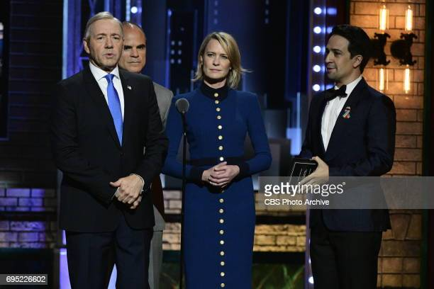 Kevin Spacey Michael Kelly Robin Wright and LinManuel Miranda at THE 71st ANNUAL TONY AWARDS broadcast live from Radio City Music Hall in New York...