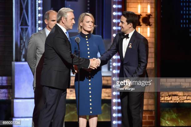 Kevin Spacey Michael Kelly Robin Wright and LinManuel Miranda speak onstage during the 2017 Tony Awards at Radio City Music Hall on June 11 2017 in...