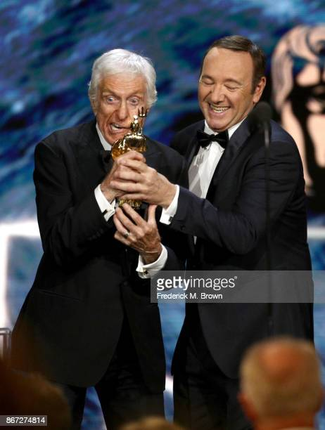 Kevin Spacey presents Britannia Award for Excellence in Television presented by Swarovski to Dick Van Dyke onstage at the 2017 AMD British Academy...
