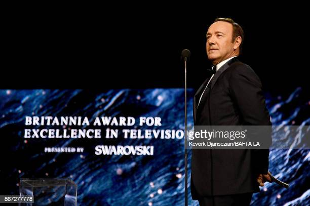 Kevin Spacey presents Britannia Award for Excellence in Television presented by Swarovski at the 2017 AMD British Academy Britannia Awards Presented...