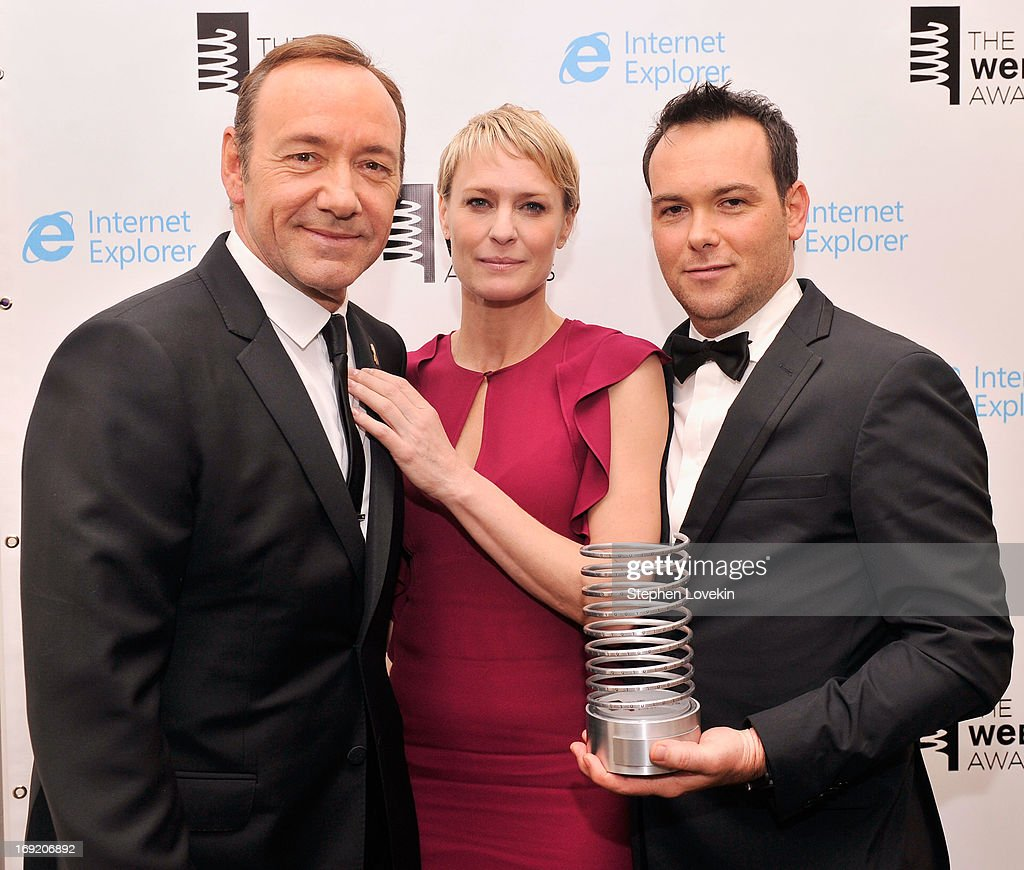 Kevin Spacey, Robin Wright and Dana Brunetti pose with an award at the 17th Annual Webby Awards at Cipriani Wall Street on May 21, 2013 in New York City.