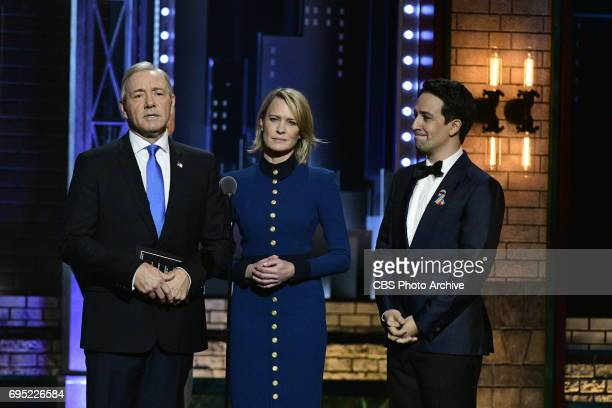 Kevin Spacey Robin Wright and LinManuel Miranda at THE 71st ANNUAL TONY AWARDS broadcast live from Radio City Music Hall in New York City on Sunday...