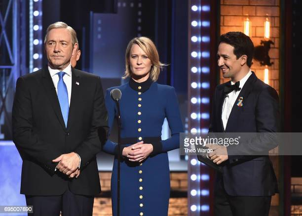 Kevin Spacey Robin Wright and LinManuel Miranda speak onstage during the 2017 Tony Awards at Radio City Music Hall on June 11 2017 in New York City