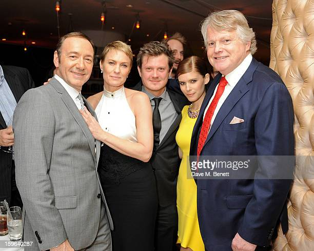 Kevin Spacey Robin Wright Beau Willimon Kate Mara and Lord Michael Dobbs attend an after party celebrating the Red Carpet Premiere of the Netflix...