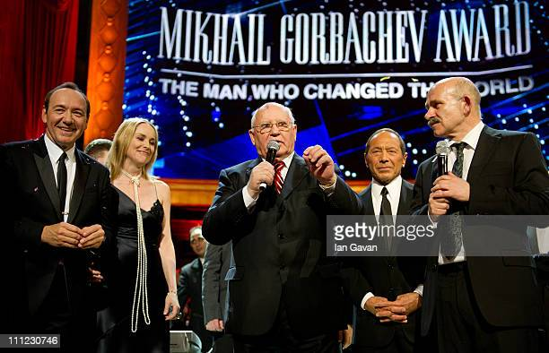 Kevin Spacey Sharon Stone Mikhail Gorbachev Paul Anka on stage during the finale of the Gorby 80 Gala at the Royal Albert Hall on March 30 2011 in...