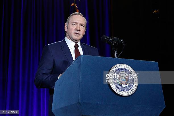 Kevin Spacey speaks on stage at the portrait unveiling and season 4 premiere of Netflix's 'House Of Cards' at the National Portrait Gallery on...