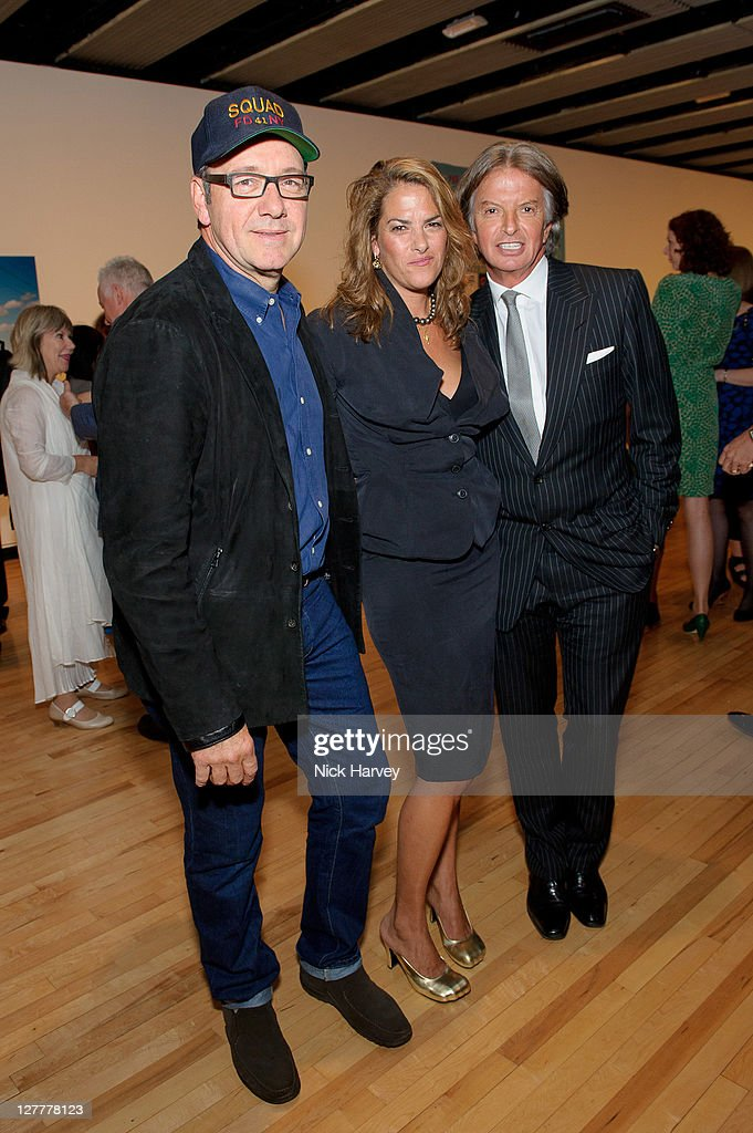 Kevin Spacey Tracey Emin and Richard Caring attend the Special Preview to the exhibition Love is What You Want by Tracey Emin at the Hayward Gallery...