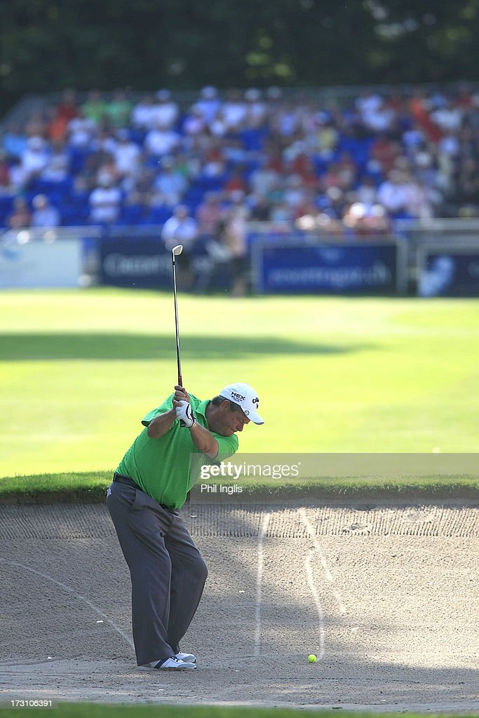 Kevin Spurgeon of England hits from a bunker during the final round of the Bad Ragaz PGA Seniors Open played at Golf Club Bad Ragaz on July 7, 2013 in Bad Ragaz, Switzerland.