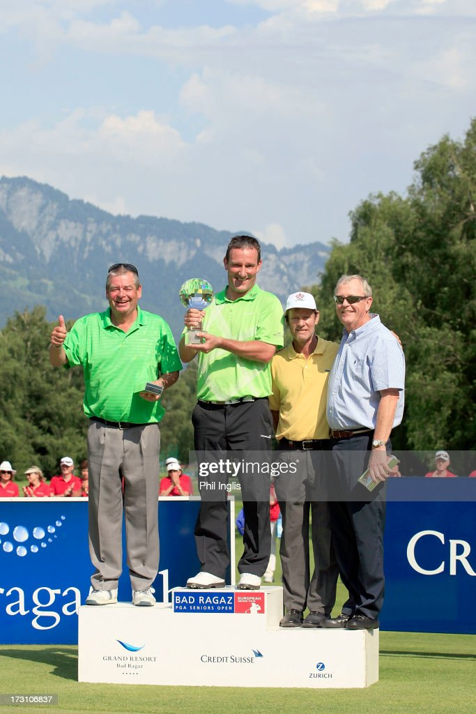 Kevin Spurgeon of England, Paul Wesselingh of England, Pedro Linhart of Spain an d Carl mason of England stand on the winners rostrum after the final round of the Bad Ragaz PGA Seniors Open played at Golf Club Bad Ragaz on July 7, 2013 in Bad Ragaz, Switzerland.