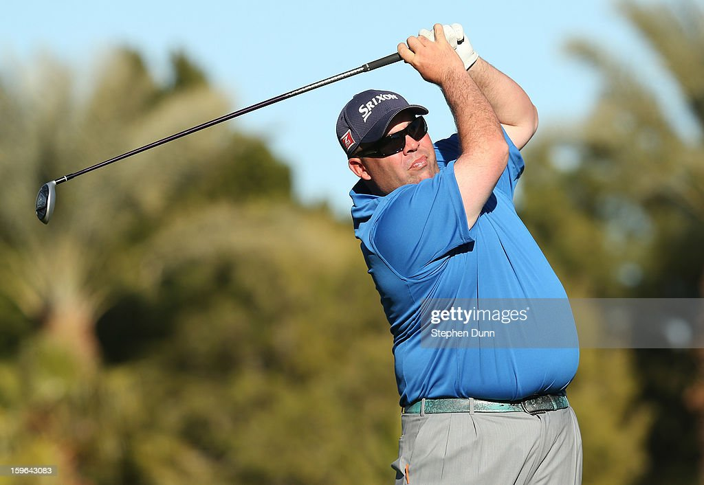 Kevin Stadler hits his tee shot on the 16th hole during the first round of the Humana Challenge in partnership with the Clinton Foundation at La Quinta Country Club on January 17, 2013 in La Quinta, California.