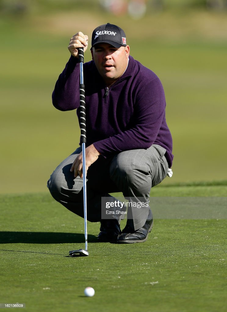 Kevin Stadler lines up a putt during the third round of the AT&T Pebble Beach National Pro-Am at Pebble Beach Golf Links on February 9, 2013 in Pebble Beach, California.