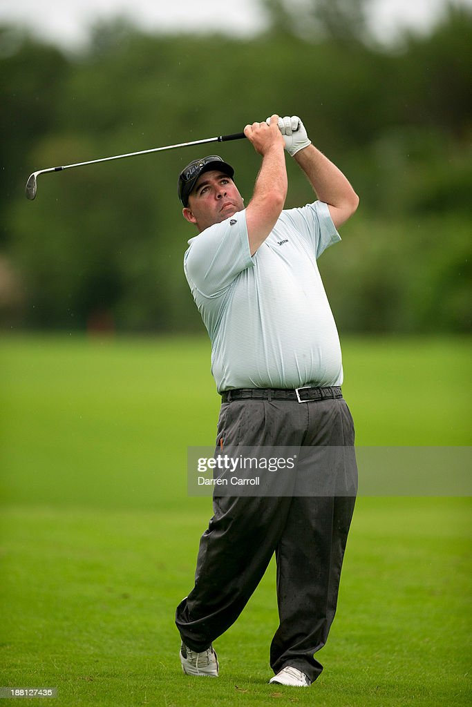 Kevin Stadler of the United States plays an approach shot at the 17th hole during the second round of the 2013 OHL Classic at Mayakoba, played at El Camaleon Golf Club on November 15, 2013 in Playa Del Carmen, Mexico.
