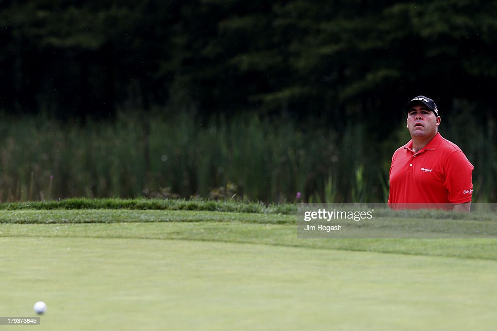 <a gi-track='captionPersonalityLinkClicked' href=/galleries/search?phrase=Kevin+Stadler&family=editorial&specificpeople=565814 ng-click='$event.stopPropagation()'>Kevin Stadler</a> reacts to his shot onto the seventh green during the final round of the Deutsche Bank Championship at TPC Boston on September 2, 2013 in Norton, Massachusetts.