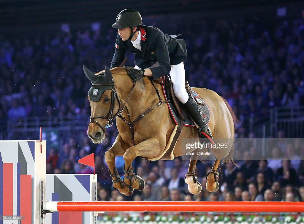 <a gi-track='captionPersonalityLinkClicked' href=/galleries/search?phrase=Kevin+Staut&family=editorial&specificpeople=4386325 ng-click='$event.stopPropagation()'>Kevin Staut</a> of France competes in the Longines Speed Challenge show jumping event (CSI5) on day two of the Longines Paris Masters 2015 held at the Paris-Nord Villepinte Exhibition Center on December 4, 2015 in Villepinte nearby Paris, France.