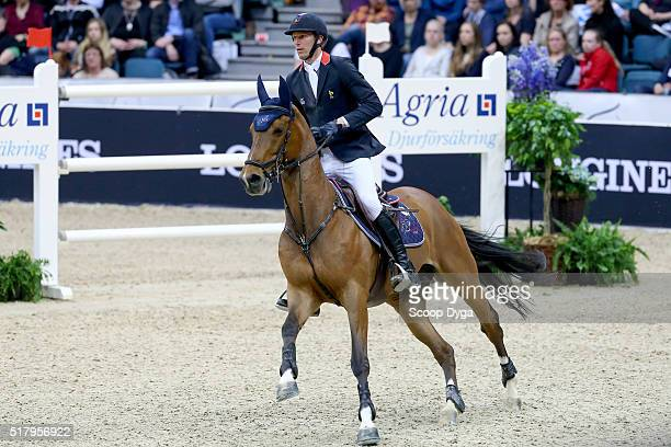 Kevin Staut of France rides For Joy van't Zorgvliet HDC during the Longines FEI World Cup Final Jumping at Scandinavium on March 28 2016 in...
