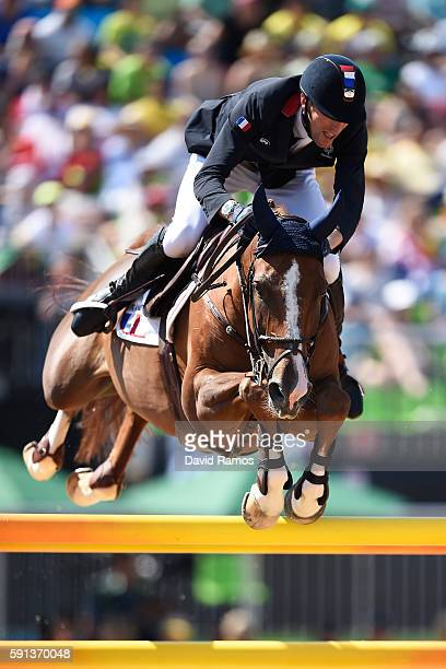 Kevin Staut of France rides Reveur de Hurtebise during the Jumping Team Round 2 during Day 12 of the Rio 2016 Olympic Games at the Olympic Equestrian...