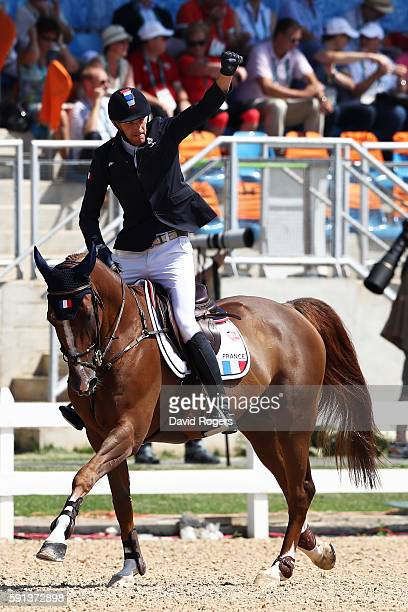 Kevin Staut of France rides Reveur de Hurtebise during the Jumping Team Round 2 on Day 12 of the Rio 2016 Olympic Games at the Olympic Equestrian...