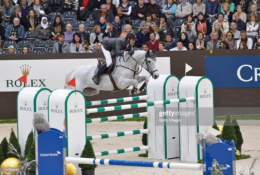 Kevin Staut of France rides Silvana HDC during the Rolex IJRC Top Ten at Palexpo on December 7, 2012 in Geneva, Switzerland.