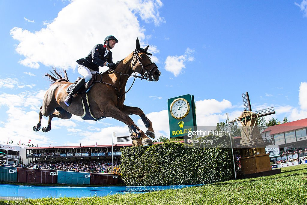 <a gi-track='captionPersonalityLinkClicked' href=/galleries/search?phrase=Kevin+Staut&family=editorial&specificpeople=4386325 ng-click='$event.stopPropagation()'>Kevin Staut</a> of France riding Estoy Aqui De Muze HDC competes in the individual jumping equestrian on the final day of the Masters tournament at Spruce Meadows on September 14, 2014 in Calgary, Alberta, Canada.