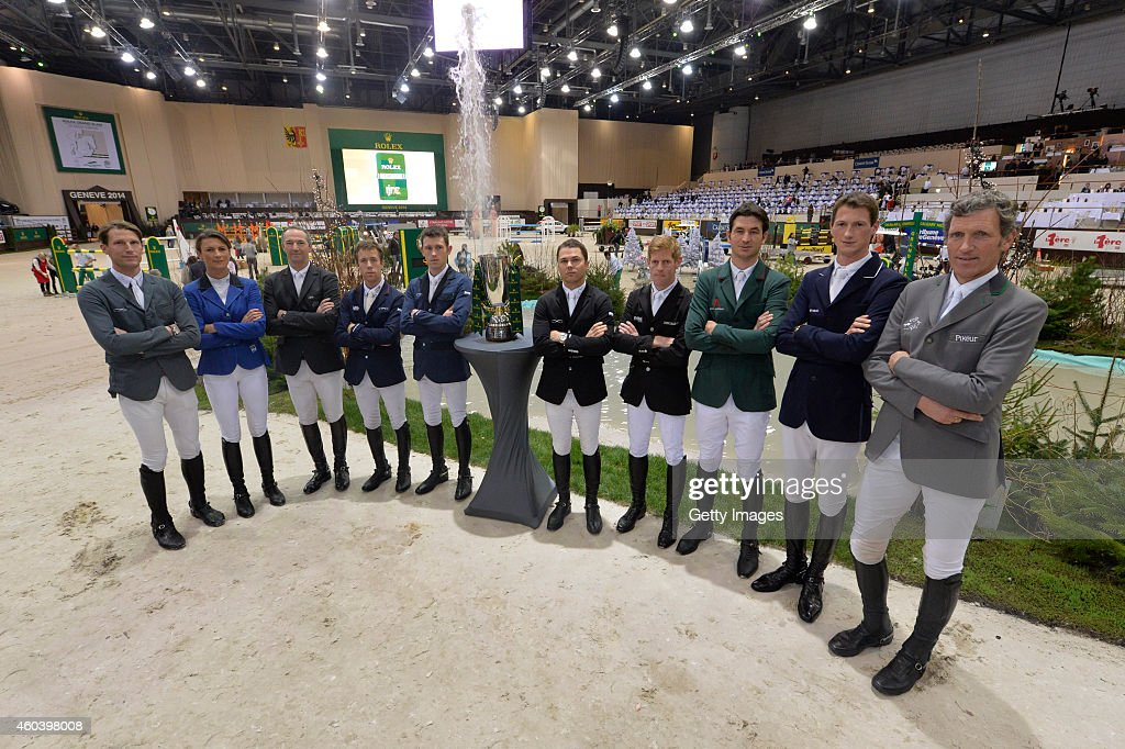 <a gi-track='captionPersonalityLinkClicked' href=/galleries/search?phrase=Kevin+Staut&family=editorial&specificpeople=4386325 ng-click='$event.stopPropagation()'>Kevin Staut</a>, <a gi-track='captionPersonalityLinkClicked' href=/galleries/search?phrase=Penelope+Leprevost&family=editorial&specificpeople=5534219 ng-click='$event.stopPropagation()'>Penelope Leprevost</a>, <a gi-track='captionPersonalityLinkClicked' href=/galleries/search?phrase=Patrice+Delaveau&family=editorial&specificpeople=2328789 ng-click='$event.stopPropagation()'>Patrice Delaveau</a>, Maikel Van der Vluten, <a gi-track='captionPersonalityLinkClicked' href=/galleries/search?phrase=Scott+Brash&family=editorial&specificpeople=7104508 ng-click='$event.stopPropagation()'>Scott Brash</a>, <a gi-track='captionPersonalityLinkClicked' href=/galleries/search?phrase=Kent+Farrington&family=editorial&specificpeople=663390 ng-click='$event.stopPropagation()'>Kent Farrington</a>, <a gi-track='captionPersonalityLinkClicked' href=/galleries/search?phrase=Marcus+Ehning&family=editorial&specificpeople=539689 ng-click='$event.stopPropagation()'>Marcus Ehning</a>, <a gi-track='captionPersonalityLinkClicked' href=/galleries/search?phrase=Steve+Guerdat&family=editorial&specificpeople=2304249 ng-click='$event.stopPropagation()'>Steve Guerdat</a>, <a gi-track='captionPersonalityLinkClicked' href=/galleries/search?phrase=Daniel+Deusser&family=editorial&specificpeople=4057334 ng-click='$event.stopPropagation()'>Daniel Deusser</a> and <a gi-track='captionPersonalityLinkClicked' href=/galleries/search?phrase=Ludger+Beerbaum&family=editorial&specificpeople=607707 ng-click='$event.stopPropagation()'>Ludger Beerbaum</a> pose as they compete during the Rolex IJRC Top 10 Final on December 12, 2014 in Geneva, Switzerland.