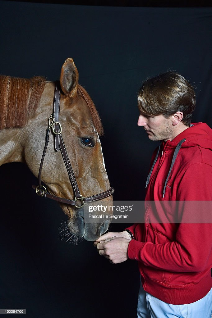 <a gi-track='captionPersonalityLinkClicked' href=/galleries/search?phrase=Kevin+Staut&family=editorial&specificpeople=4386325 ng-click='$event.stopPropagation()'>Kevin Staut</a> poses backstage with Reveur de Hurtebise HDC during the Gucci Paris Masters 2014 on December 5, 2014 in Villepinte, France.