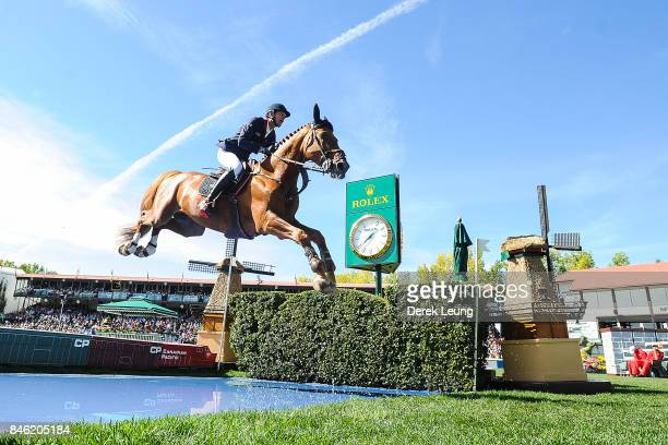 Kevin Staut rides in the individual jumping equestrian on the final day of the Masters tournament at Spruce Meadows on September 10 2017 in Calgary...