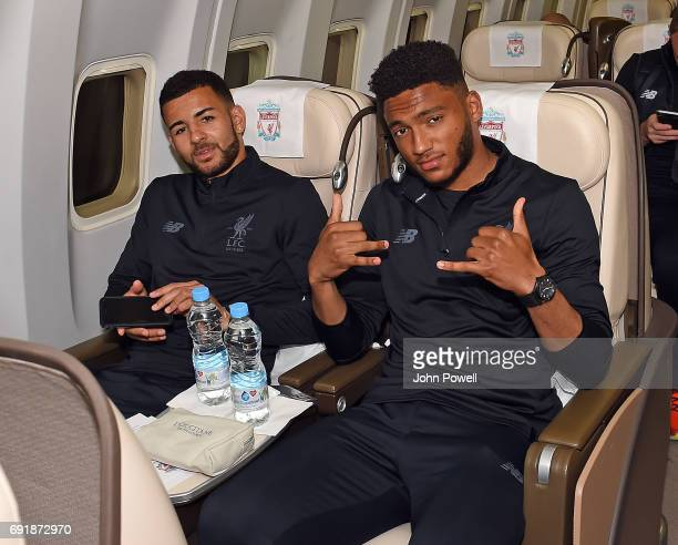 Kevin Stewart and Joe Gomez of Liverpool on the plane to Australia at Melwood Training Ground on May 22 2017 in Liverpool England