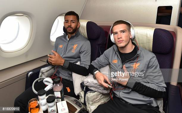 Kevin Stewart and Ryan Kent of Liverpool on the plane before pre season tour at Manchester Airport on July 16 2017 in Liverpool England