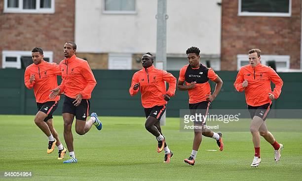 Kevin Stewart Joel Matip Sadio Mane Jordon Ibe and Brad Smith of Liverpool duringa training session at Melwood Training Ground on July 5 2016 in...