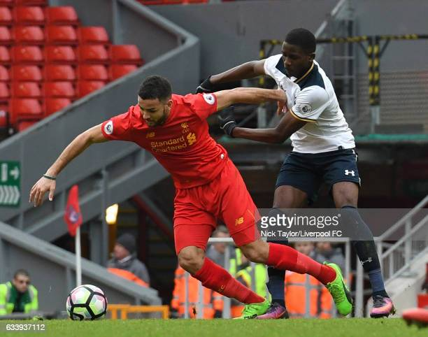 Kevin Stewart of Liverpool and Shilow Tracey of Tottenham Hotspur in action during Premier League 2 match between Liverpool and Tottenham Hotspur at...
