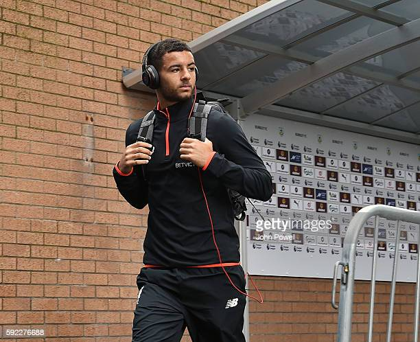 Kevin Stewart of Liverpool arrives before the Premier League match between Burnley and Liverpool at Turf Moor on August 20 2016 in Burnley England