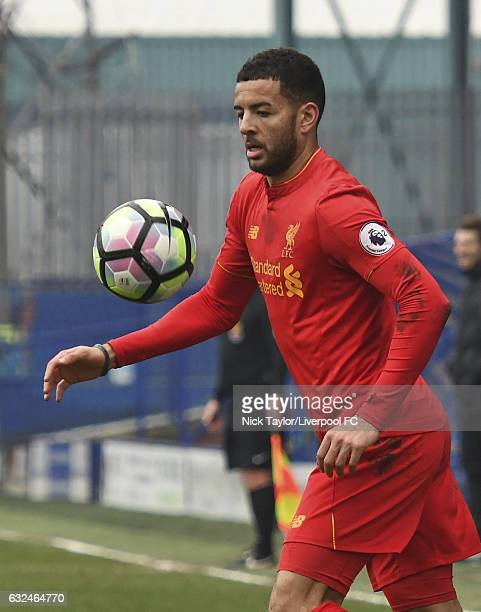 Kevin Stewart of Liverpool in action during the Liverpool v Ipswich Town Premier league Cup game at Prenton Park on January 22 2017 in Birkenhead...