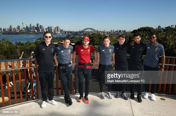Kevin Stewart Steve McManaman Daniel Sturridge Adam Lallana Harry Wilson and Connor Randall pose during a Liverpool FC player visit to Taronga Zoo on...