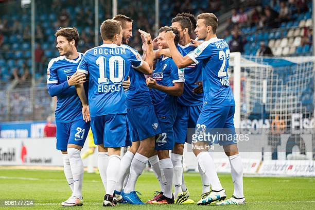 Kevin Stoeger of Bochum celebrates with team mates after scoring a goal to make it 10 during the Second Bundesliga match between VfL Bochum 1848 and...