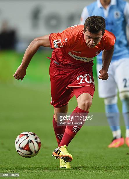 Kevin Stoeger of Kaiserslautern controls the ball during the Second Bundesliga match between 1 FC Kaiserslautern and TSV 1860 Muenchen at...