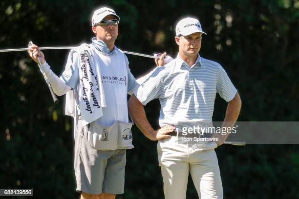 Kevin Streelman and his caddie wait to putt on during the first round of the Dean Deluca Invitational on May 25 2017 at Colonial Country Club in Fort...