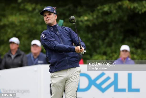 Kevin Streelman of the United States drives from the 1st tee during the third round of the Dell Technologies Championship on September 3 at TPC...